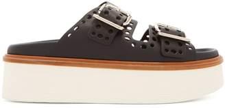 Tod's Double-strap leather platform slides