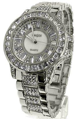Alexis usfw974b新しい光沢ホワイトダイヤルシルバーバンドPNP Shinyシルバー時計ケースファッションウォッチ