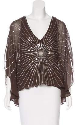BCBGMAXAZRIA Silk Embellished Top