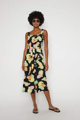 Warehouse Womens Black Fruit Salad Midi Dress - Black