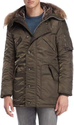 Blauer Real Fur Trim Hooded Padded Coat