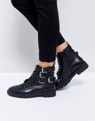 Helena Raid RAID Black Multi Buckle Grunge Flat Ankle Boots