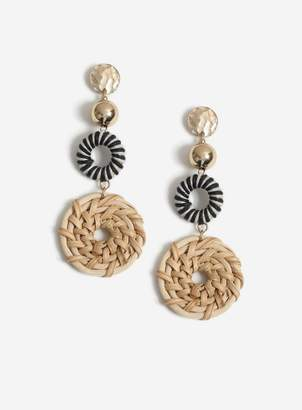 Miss Selfridge Gold Basket Weave Drop Earrings