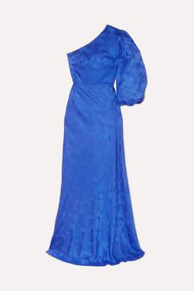 Saloni Lily One-shoulder Silk-satin Jacquard Gown - Blue