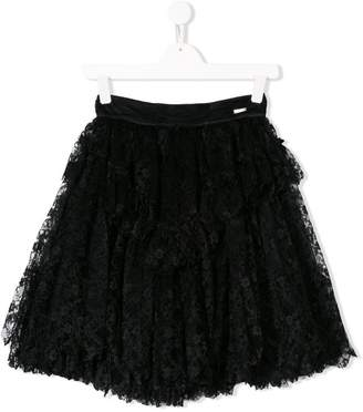 DSQUARED2 lace-embroidered flared skirt