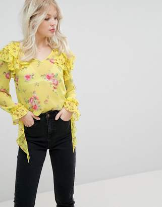 Miss Selfridge Floral And Ruffle Blouse
