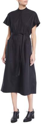 Co Cap-Sleeve Half-Placket Belted Light-Twill Midi Dress