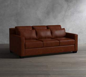 Pottery Barn York Deep Square Arm Leather Sofa Collection