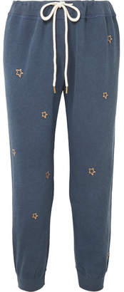 The Great The Cropped Embroidered Cotton-jersey Track Pants - Navy