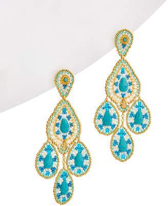 Miguel Ases 18K Plated Crystal Beaded Chandelier Earrings