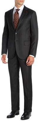 Isaia Striped Super 140s Wool Two-Piece Suit, Black/Brown