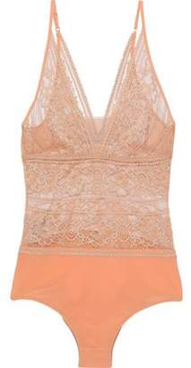 Stella McCartney Ophelia Whistling Lace And Stretch-Jersey Bodysuit
