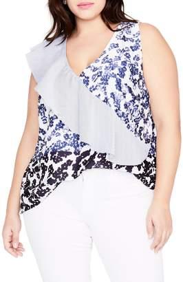 Rachel Roy Ruffle Sash Floral Top