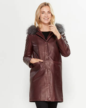 Intuition Paris Burgundy Real Fur-Trimmed 2-in-1 Leather Parka