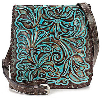 Patricia Nash Tooled Turquoise Collection Granada Floral-Embossed Cross-Body Bag $149 thestylecure.com