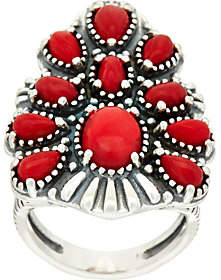 American West Sterling Red Coral TaperedCluster Ring
