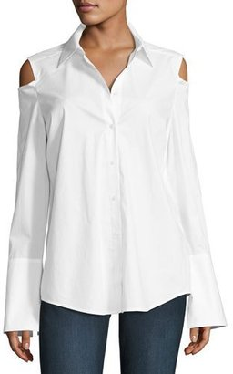 NYDJ Carlotta Cold-Shoulder Button-Front Blouse, White $88 thestylecure.com