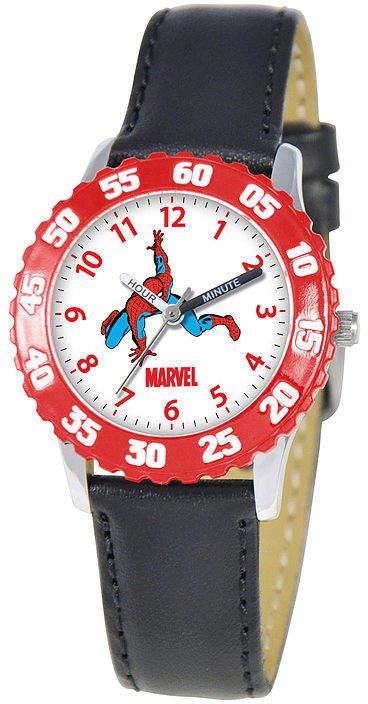 MARVEL Marvel Spiderman Time Teacher Kids Black Leather Strap Watch