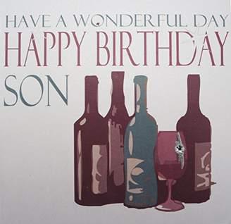 DAY Birger et Mikkelsen WHITE COTTON CARDS Code N96-S Vintage Wine Have A Wonderful Happy Birthday Son Handmade Birthday Card