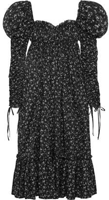 Floral-print Cotton-voile Maxi Dress - Black