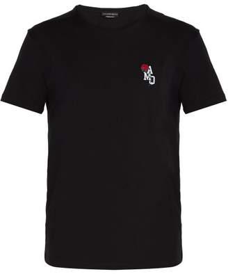 Alexander McQueen Embroidered Cotton Jersey T Shirt - Mens - Black