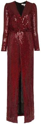 Galvan Vera Sequin and Silk Maxi Dress