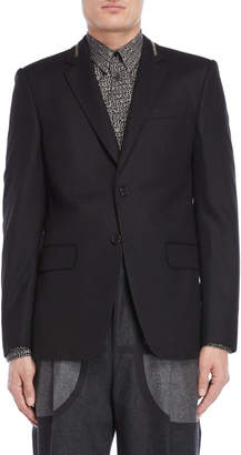 Givenchy Black Zipper Accent Wool Blazer