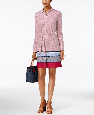 Tommy Hilfiger Dot-Print Striped Shirtdress $79.50 thestylecure.com