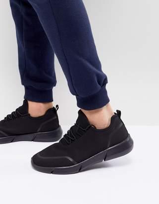 Asos Sneakers In Black Mesh Knit