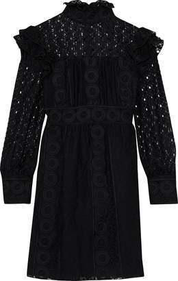 Anna Sui Ruffled Embroidered Cotton-blend Tulle And Guipure Lace Mini Dress