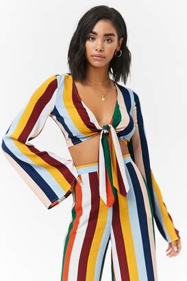 Forever 21 Striped Long Sleeve Knotted Crop Top
