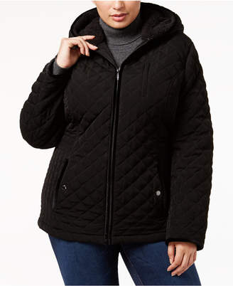 Laundry by Shelli Segal Plus Size Faux-Fur-Trim Quilted Coat
