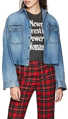 R 13 Women's Denim Crop Shirt - Blue