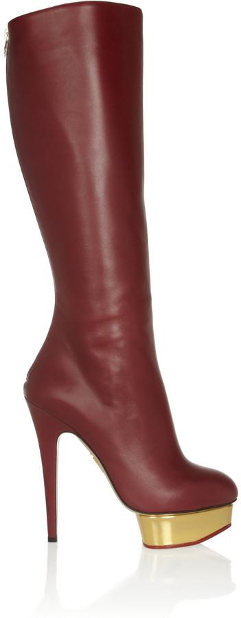 Charlotte Olympia Bonnie leather platform knee boots