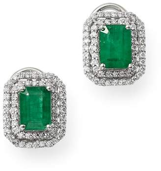 Bloomingdale's Emerald & Diamond Double Halo Earrings in 14K White Gold - 100% Exclusive