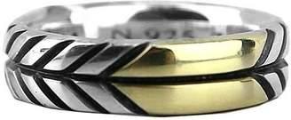 David Yurman CHEVRON ST. Silver 18K Gold 7mm Modern Chevron Band Ring SZ 10