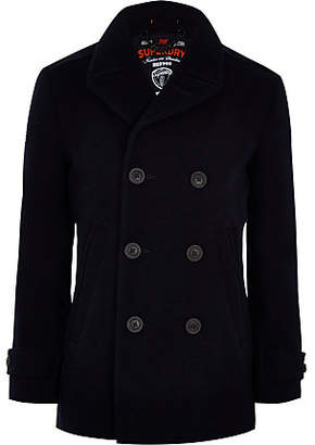 River Island Superdry blue double-breasted peacoat