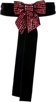 ATTICO Crystal-Embellished Velvet Belt