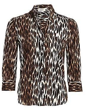 L'Agence Women's Ryan Leopard Silk Blouse