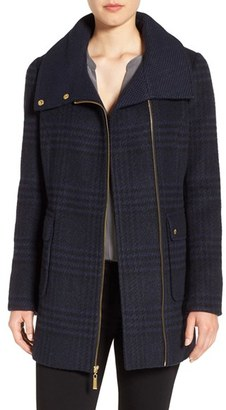 Women's Ellen Tracy Asymmetrical Plaid Coat $300 thestylecure.com