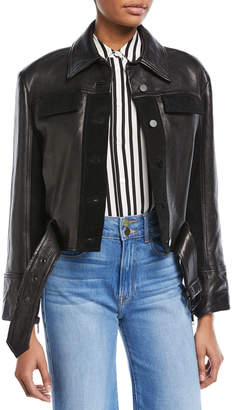 Frame Button-Front Paneled Leather Moto Jacket