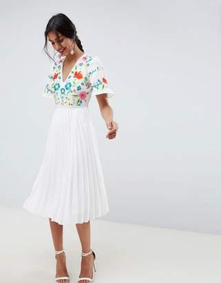 Asos Design DESIGN pleated embroidered midi dress