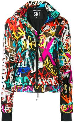 DSQUARED2 Graffiti print puffer jacket