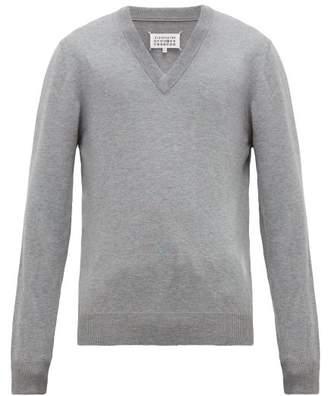 Maison Margiela Elbow Patch V Neck Cotton Blend Sweater - Mens - Grey