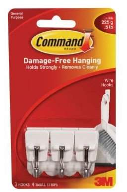 3M Command Wire Hooks, Small, White, 3-Hooks (17067ES) (Pack of 2)