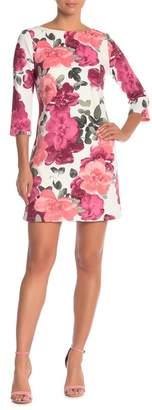 Chetta B 3\u002F4 Sleeve Shift Print Dress