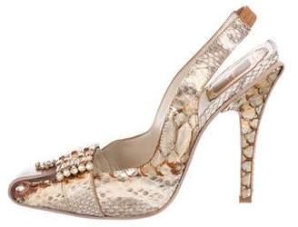 Christian Dior Python Slingback Pumps