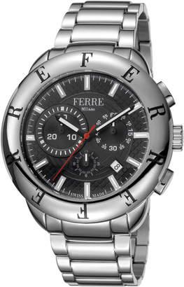 Ferré Milano Men's 46mm Chronograph Watch Black\/Steel