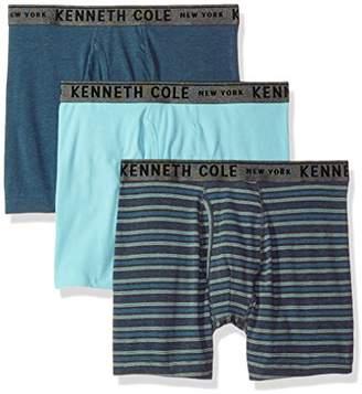 Kenneth Cole New York Men's Bronx Stripe Performance Cotton Stretch 3 Pack Boxer Briefs