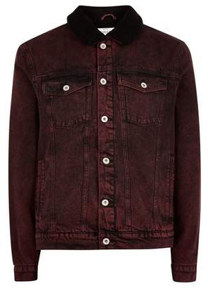 Topman Mens Red Acid Wash Borg Denim Jacket